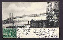 CPA USA - NEW YORK CITY - Williamsburg Bridge - SUPERBE PLAN PONT + TB TIMBRE RECTO Oblitération 1904 - Ponti E Gallerie