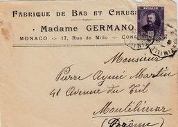 MONACO DEVANT DE LETTRE. AMBULANT A VINTIMILLE MADAME GERMANO FABRIQUE DE BAS ET CHAUSSETTES - Monaco
