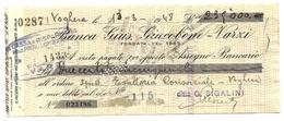 1948 - Italia - Assegno Della Banca Gius. Giucobone, - Assegni & Assegni Di Viaggio