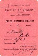 VP7536 - Univversité De PARIS - Faculté De Médecine - Carte D'Immatriculation E.HIVERLET - Cartes