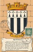 D28544 CARTE MAXIMUM CARD 1942 FRANCE - COAT OF ARMS BLASONS ARMOIRIES RENNES CP ORIGINAL - 1940-49