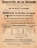 VP7537 Affichette Société D'Exploitation De Passages D'Eau ¨TRAVERSEE DE LA GIRONDE ¨ Bac De BLAY A LAMARQUE & PAUILLAC - Posters