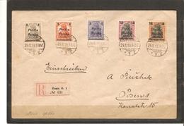 POLOGNE   SERIE N° 56/60   YVERT  SUR ENVELOPPE   De 1919 - ....-1919 Übergangsregierung