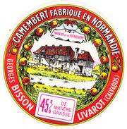 ETIQUETTE DE CAMEMBERT BISSON  LIVAROT 14 BK - Cheese