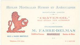 Carte Comm. Ets Fabre-Delmas, Salon De Provence, Huiles & Graisses Industrielles Russes Et Américaines, Craven-Oil (VP) - Reclame