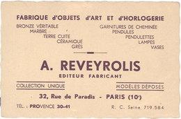 Carte Commerciale A.Reveyrolis, Objets Art Et Horlogerie, Paris 10e ( VP ) - Reclame