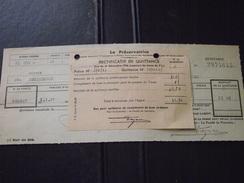 REMIREMONT (Vosges) - Quittance Et Rectificatif - La PRESERVATRICE - 1er Janvier 1937 - Bank & Insurance