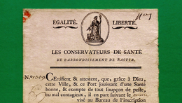 D-FR CORSE 1798 Patente De Santé Pour La PESTE, Navire De Bastia à Marseille - Documents Historiques