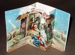 Créche Noël Nativité Carte à Système ( Dépliant Pop Up ) Avec Découpi Intérieur Format 11X14cm Dessin Illustrateur - A Systèmes