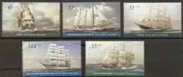 Germany, 2005, Large Sailing Ships - Brig, Barque, Barc, Schooner, Clipper, 5 Values MNH - Bateaux