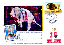 ALGHERIA 2016 FDC Barbary Lion Atlas LIONS Threatened Species Cirque Circus Löwen Löwe Leones Mammals Zirkus Circo - Zirkus
