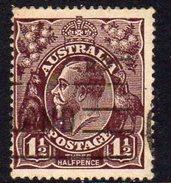 Australia 1918-23 1½d Black-brown GV Head, 2nd Wmk. 5, Used (SG58) - 1913-36 George V : Heads