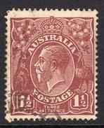 Australia 1918-23 1½d Deep Red-brown GV Head, 2nd Wmk. 5, Used (SG59) - 1913-36 George V : Heads