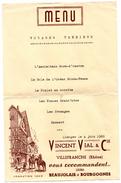 Menu Vincent Vial Villefranche 69 - Menus