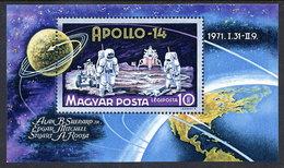 HUNGARY 1971 Apollo 14 Block MNH / **.  Michel Block 80 - Blocks & Sheetlets