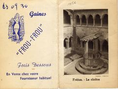 Calendrier Dépliant à 2 Volets - Frou-Frou  Jolis Dessous Soutien-gorge Gaine Ceinture - Fréjus Le Cloître - 1956 - Calendriers