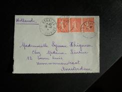Pli Affranchi Type Semeuse Pour Amsterdam Oblitération Etables Côtes Du Nord 1928 - Marcophilie (Lettres)