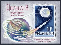 HUNGARY 1969 Apollo 8 Block MNH / **.  Michel Block 68 - Blocks & Sheetlets