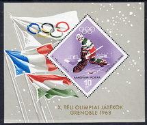 HUNGARY 1967 Winter Olympics Block MNH / **.  Michel Block 62 - Blocks & Sheetlets