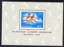 HUNGARY 1966 European Athletics Block MNH / **.  Michel Block 54 - Blocks & Sheetlets