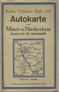 Kölner Verkehrs- Rad- Und Autokarte Vom Mittel- Und Niederrhein (Emmerich Bis Darmstadt) 30er Jahre - 68cm X 86cm - Maßs - Strassenkarten