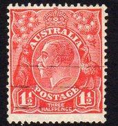 Australia 1926-30 1½d Scarlet GV Head, Wmk. 7, Perf. 13½x12½, Used (SG96) - 1913-36 George V: Heads