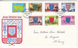 Jersey: Definitives On 4 FDCs, 1976 - Jersey