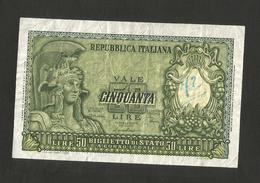 ITALIA 50 Lire Italia Elmata - Firme: Di Cristina / Cavallaro / Parisi - Decr: 31-12-1951 - Rep. Italiana - [ 2] 1946-… : République