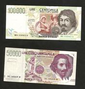 ITALIA - BANCA D'ITALIA - 100000 Lire CARAVAGGIO / 50000 Lire BERNINI  II° Tipo (Firme: FAZIO / SPEZIALI ) LOTTO - [ 2] 1946-… : Repubblica