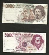 ITALIA - BANCA D'ITALIA - 100000 Lire CARAVAGGIO / 50000 Lire BERNINI  I° Tipo (Firme: CIAMPI / SPEZIALI ) LOTTO - [ 2] 1946-… : Républic