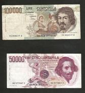 ITALIA - BANCA D'ITALIA - 100000 Lire CARAVAGGIO / 50000 Lire BERNINI  I° Tipo (Firme: FAZIO / STEVANI ) LOTTO - [ 2] 1946-… : Repubblica