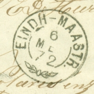 Nederland - 1872 - Takjestempel EINDH-MAASTR. Op Omslagje Van Maasbracht Naar Echt - Zegel Af - Poststempel