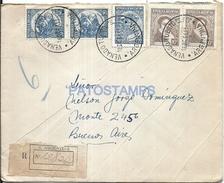 64935 ARGENTINA VENADO TUERTO SANTA FE COVER YEAR 1951 REGISTERED CIRCULATED TO BUENOS AIRES MULTI STAMPS NO POSTCARD - Argentinien