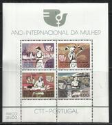 PORTUGAL PORTOGALLO 1975 BLOCCO FOGLIETTO ANNO MONDIALE DELLA DONA WORLD WOMAN YEAR BLOCK SHEET BLOC FEUILLET MNH - Blocks & Kleinbögen