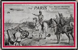 CPA Satirique Caricature Guerre 14-18 Germany Kaiser Patriotique Germany écrite Paris Zeppelin - Satirical