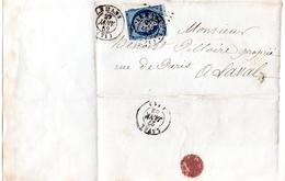 Cérès 25 Cts Bleu N° 4 Sur Lettre Cad Type 15 LSC - 1849-1850 Cérès