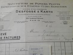PARIS 11e - Facture Et Avoir - Ex-DESFOSSE & KARTH - Manufacture De Papiers Peints - Vers REMIREMONT (Vosges) - 1930 - Autres