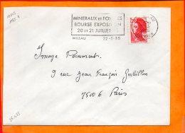 """AVEYRON, Millau, Flamme à Texte, """"minéraux Et Fossiles Bourse Exposition 20 Et 21 Juillet"""" - Postmark Collection (Covers)"""