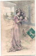 Bonne Année Femme Et Fleurs - Neujahr