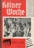 Kölner Woche Februar 1938 - 20 Seiten Mit Einem Doppelseitigen Stadtplan - Filmecke - Köln, Nur Du Allein...Wichtiges Vo - Reise & Fun