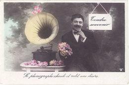 Cpa Fantaisie - Tendre Souvenir, Phonographe - Männer