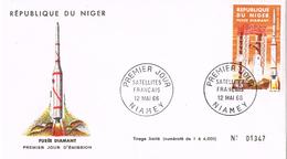21068. Carta F.D.C. NIAMEY (Niger) 1966. Espace, Fusée Diamant