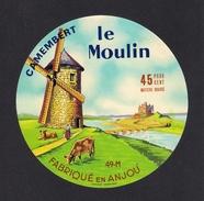 Etiquettes De Fromage. Camembert Le Moulin.   St Clément Des Levées (49).    Neuve - Fromage