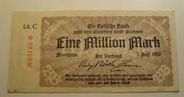 1923 - Allemagne - Germany - Weimar - EIN MILLION MARK, Berlin, Den 7 August 1923, Lit. C N°62143 - [ 3] 1918-1933 : Weimar Republic