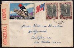 CONGO  - PARCS NATIONAUX - GUERRE 1941  - OBL DIBAYA - Bande Censure Aa D'Elisabethville + Bande Sud Africaine - BB4