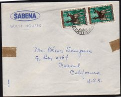 CONGO  -animaux - Elisabethville 1958 - Entete SABENA Guest Houses - Vers USA  - BB4 - Belgisch-Kongo