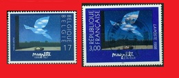 """1998 BEL  MNH **-  FRA °, Magritte """"Le Retour"""" Colombe Nid Oeufs - Pigeon Nest Eggs - Pigeons & Columbiformes"""