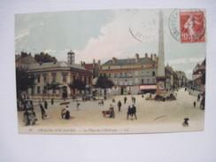 CPA Chalon Sur Saône, La Place De L'Obélisque T.B.E. 1911 Colorisée - Chalon Sur Saone