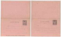ENTIER POSTAL : LOT DE 2 CARTE-LETTRE Au TYPE SAGE À 25c NEUF (PIQUAGE A & B) - Entiers Postaux