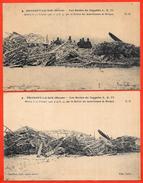 CPA (Lot De 2) 55 BRABANT-Le-ROI Meuse Les Restes Du ZEPPELIN L. Z. 77 Abattu Par Auto-Canons Revigny AVIATION Militaria - Guerre 1914-18
